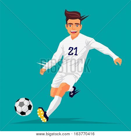 Cool football player in white form. Vector illustration on blue background. Sports concept.