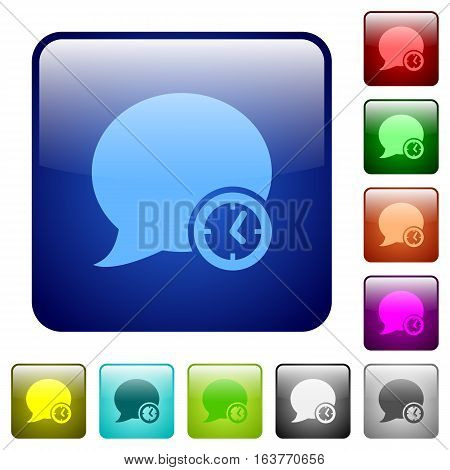Blog comment time icons in rounded square color glossy button set