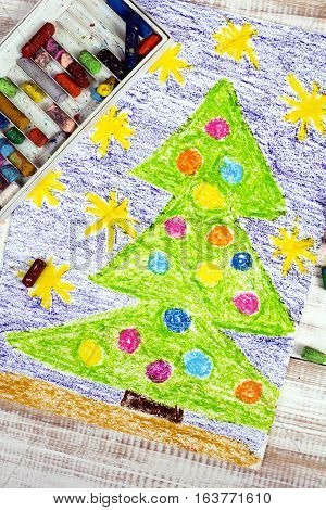 oil pastels drawing: Christmas tree with decorations