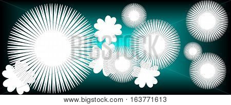 turquoise abstract background with white flowers suitable as a banner or bookmark