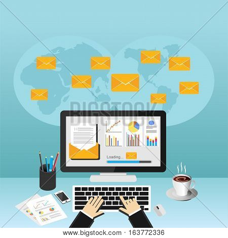 Sending or receiving email. Business email marketing. Email advertisement dashboard.