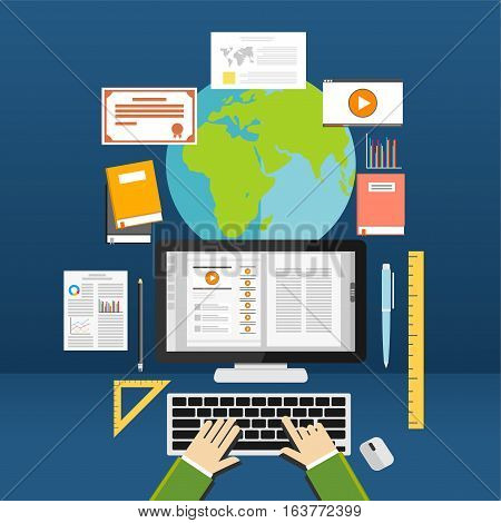 Online learning. Education supplies. E-learning concept .