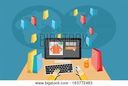 Person working on laptop computer shopping on e-commerce store. E-commerce concept.