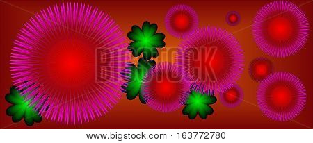 red abstract background with purple flowers suitable as a container banners or bookmarks