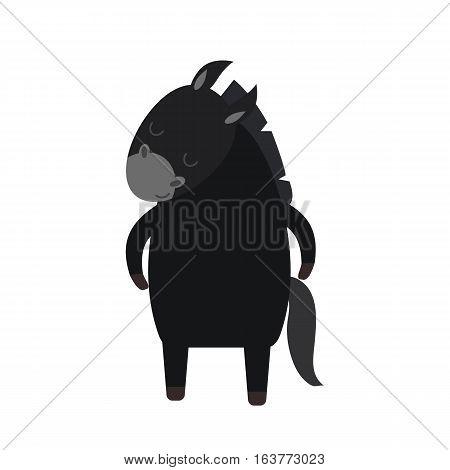 Cartoon cute donkey small horse isolated on white