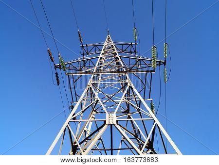 High voltage powerline transmission pylon (bottom view)