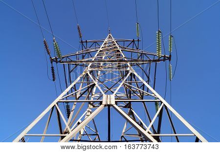 110 kilovolt powerline transmission pylon (bottom view)
