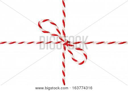 White Red Rope Tied Bow Postal Ribbon Isolated Wrapping Twine Cord