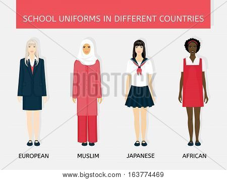 Four girls in school uniform: Europeans, Arab, Japanese and African