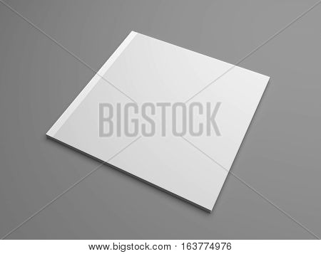 Square cover publication or brochure isolated on gray. 3D illustration mockup.