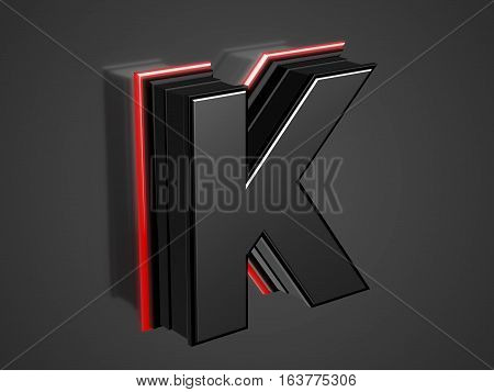 Futuristic uppercase Letter K - black glossy extruded letter with red neon light outline 3D render