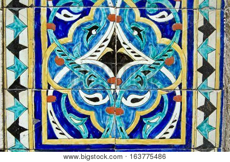 Colourful handpainted tiles on the outside of Hobyar Mosque in the centre of old Istanbul Turkey.