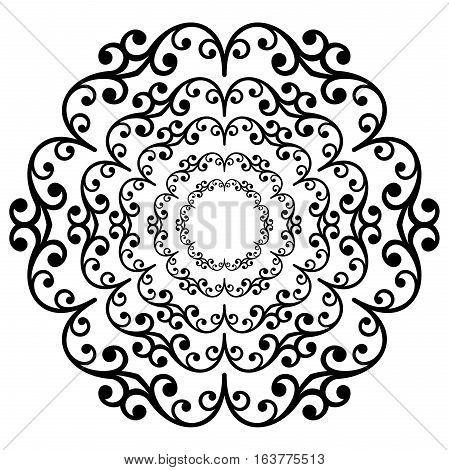 Oriental vector black and white round pattern with arabesques and floral elements. Traditional classic ornament. Vintage pattern with arabesques