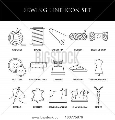 Sewing icons. Embroidery equipment. Bobbin, safety pin, needle, zipper, pincanshion and other things for stitching. Line art vector illustration.