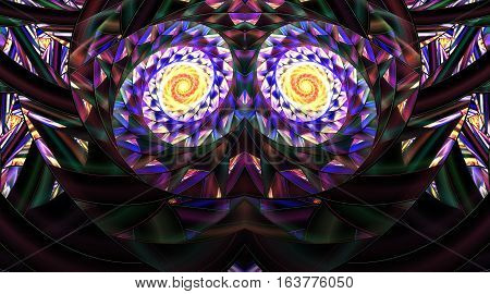 Abstract Symmetrical Mosaic Ornament On Black Background. Fantasy Fractal Artwork In Yellow, Blue, P