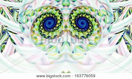 Abstract Symmetrical Mosaic Ornament On White Background. Fantasy Fractal Artwork In Pink, Blue, Bla