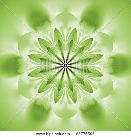 Abstract Exotic Flower. Psychedelic Mandala Design In Light Green Colors. Fantasy Fractal Art. 3D Re