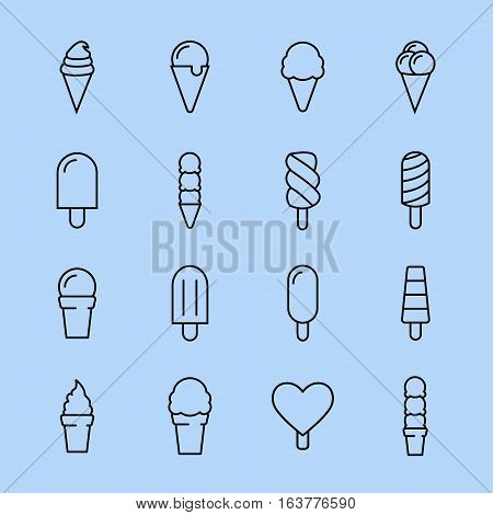 Collection of 16 vector ice creams. Chocolate, vanilla, heart ice creams. Vector illustration isolated on a light background. Ice cream cone and ice cream on stick icons.