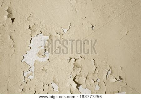 Natural background. Wall with a shabby and peeling paint and plaster. Contrast and volume beige