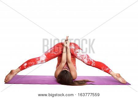 Athletic fitness woman helthy sport isolated white background young female health muscles copy space black clothes smilling stretch sign board copy space empty blank paper