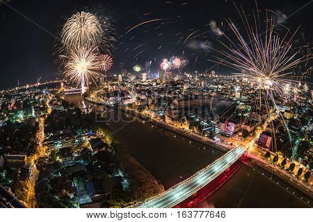Beautiful firework night scene of new year countdown in Chiang mai Thailand Fisheye lens.