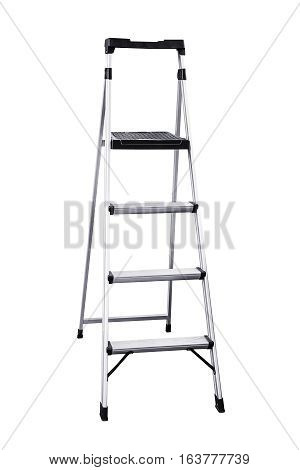 Aluminum ladder isolated on white background work clipping path.