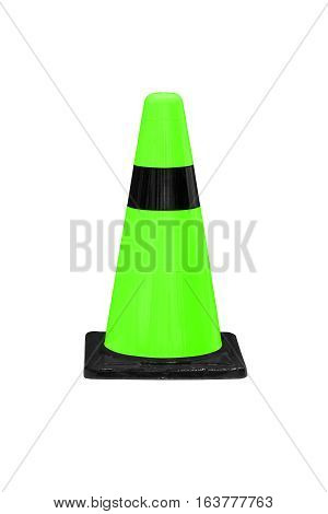 Green plastic barrier cone with black stripes isolated on white work with clipping path.