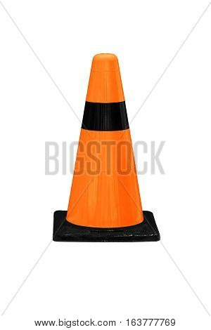 Orange plastic barrier cone with black stripes isolated on white work with clipping path.