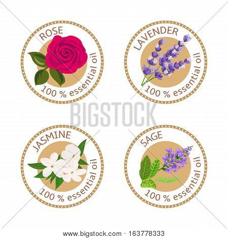 Set of 100 essential oils labels. Rose, Sage, Lavender, jasmine symbols. Logo collection. Vector illustration. Brown stamps, flat style. For stickers, price tags labels advertising banners