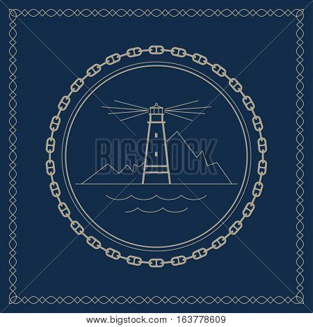 Lighthouse, marine emblem with lighthouse, retro ornament beacon and mountains