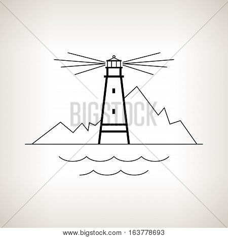Silhouette lighthouse on a light background, beacon and mountains , black and white illustration