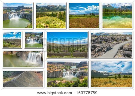 Collage of several landmarks locations: Craters of the Moon, Idaho Falls, Sawtooth National Forest in Idaho, United States, isolated on white background.