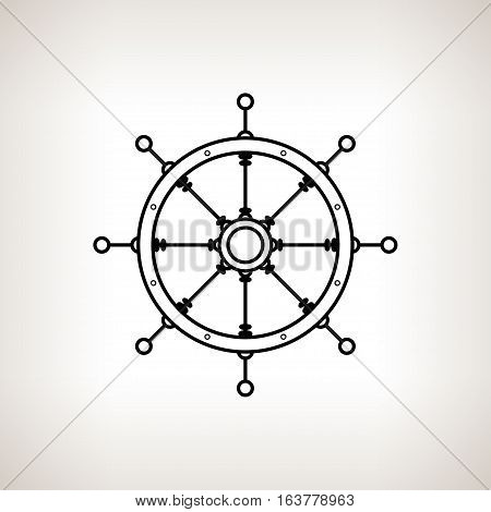 Silhouette ship's wheel on a light background, black and white illustration