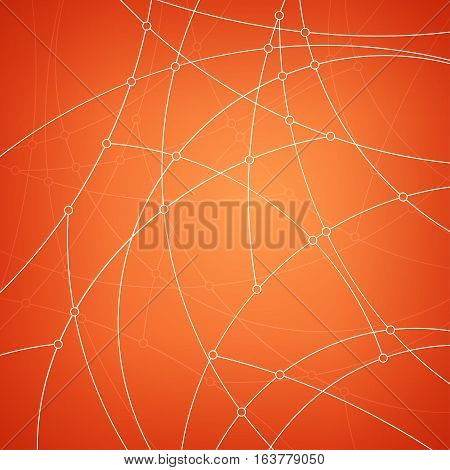 Abstract geometric pattern of the curves, unfinished lines ,nodes, orange abstract data type on orange background