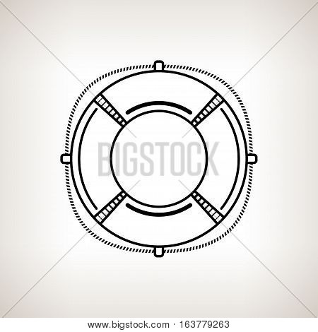 Silhouette lifebuoy ,lifebelt on a light background ,black and white illustration