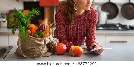 Closeup On Young Housewife With Checks After Grocery Shopping