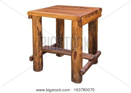 Simplistic wooden table on white background work with path.