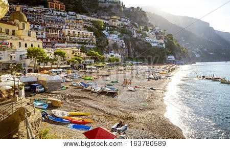 Amalfi Coast - Beach in Positano town Italy