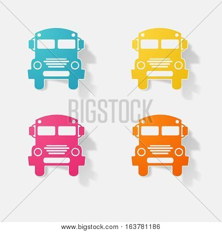 Sticker paper products realistic element design illustration school bus