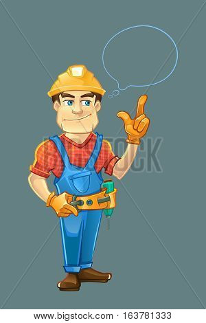 builder or handyman in helmet pointing top to the speach bubble. Color Vector illustration isolate on dark background