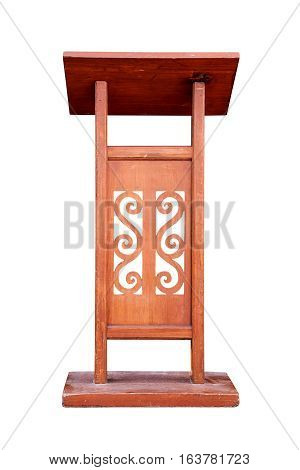 Wooden Podium Tribune Rostrum Stand Isolated on White Background Work with clipping path.