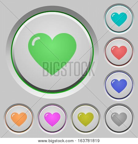 Heart shape color icons on sunk push buttons