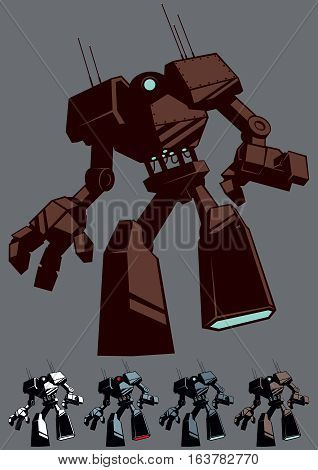 Cartoon giant robot in 5 color versions.