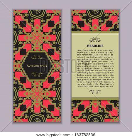Set vintage business card with Islam, Arabic, Indian geometric patterns, boho motifs.Oriental ornaments.Vector illustration.
