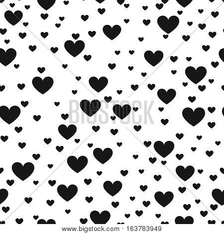 Heart black and white vector print background for website and love product wrap. Hearted seamless pattern. Monochrome wallpaper love decoration illustration