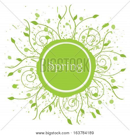 Modern spring background grunge ink element with classic swirls and leaves