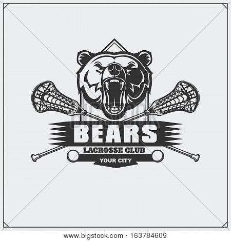 Lacrosse club emblem with bear head. Vector illustration.