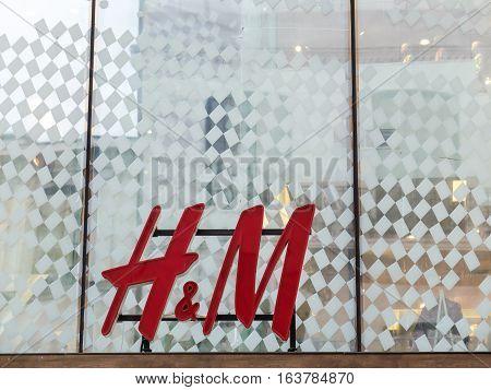 Bucharest Romania 27 February 2016: H&M logo