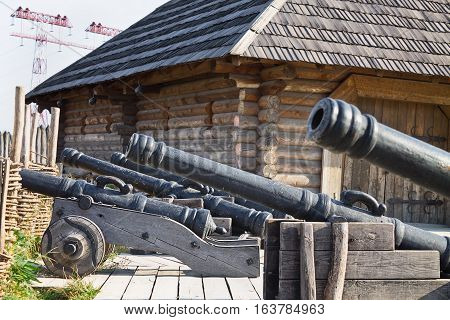old cannons in the Zaporozhye Sech, Ukraine