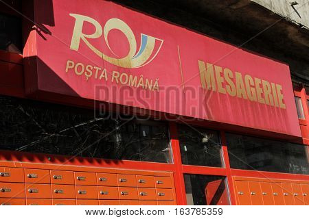 Bucharest Romania 7 February 2016: The Romanian Postal Services Messaging service.